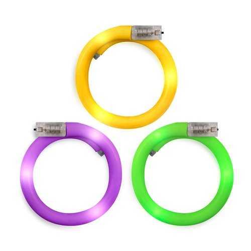 Assorted LED Mardi Gras Tube Bracelets Pack of 12
