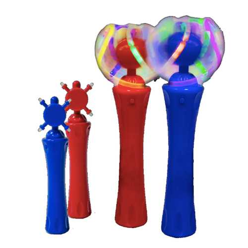 12 Packs Assorted Red and Blue Light Up Toy Orbiter Spinning Wands