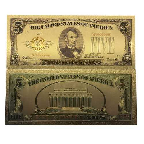 5 Dollar Commemorative Collectible Premium Replica Paper Money Bill 24k Gold Plated Fake Currency Banknote Art Holiday Decoration