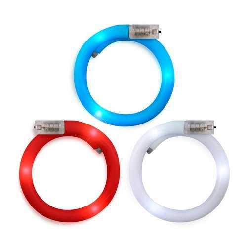 Adjustable Assorted Light Up Red White Blue Patriotic Tube Bracelets for 4th of July  Pack of 12