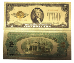 2 Dollar Commemorative Collectible Premium Replica Paper Money Bill 24k Gold Plated Fake Currency Banknote Art Holiday Decoration
