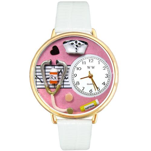 Nurse Pink Watch in Gold (Large)