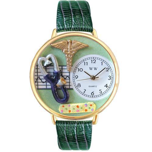 Nurse 2 Green Watch in Gold (Large)