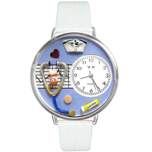 Nurse Blue Watch in Silver (Large)