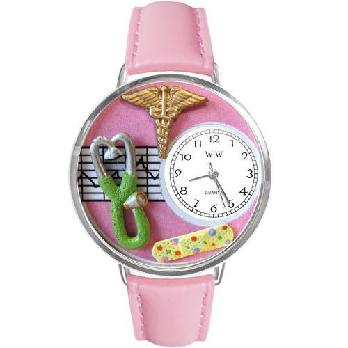 Nurse 2 Pink Watch in Silver (Large)