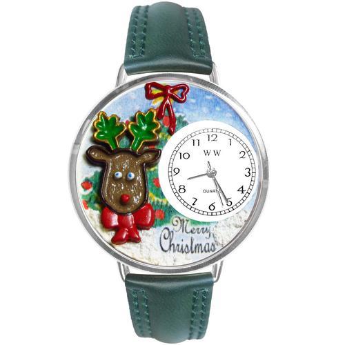 Christmas Reindeer Watch in Silver (Large)