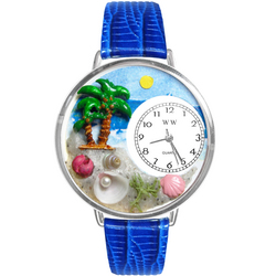 Palm Tree Watch in Silver (Large)