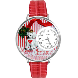 Christmas Puppy Watch in Silver (Large)
