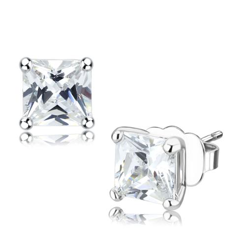 LO4631 - Brass Earrings Rhodium Unisex AAA Grade CZ Clear