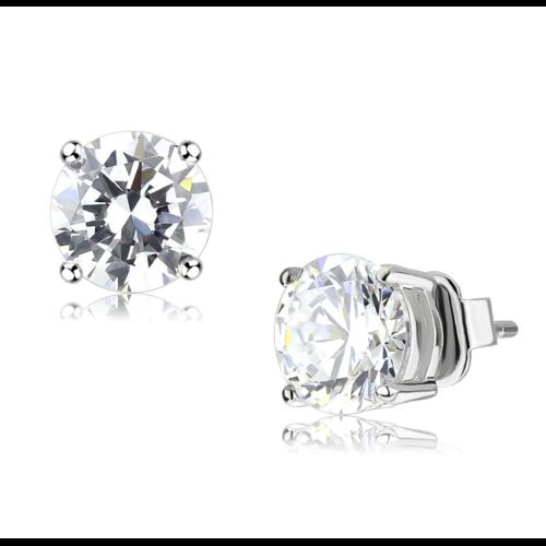 LO4632 - Brass Earrings Rhodium Unisex AAA Grade CZ Clear