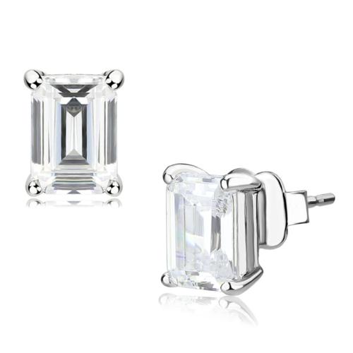 LO4633 - Brass Earrings Rhodium Unisex Cubic Clear