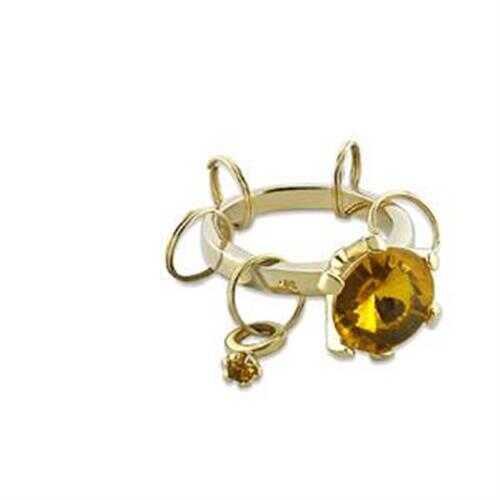 LO600 - Brass Key Ring Gold Unisex Synthetic Topaz