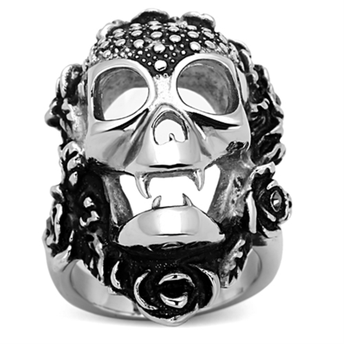 TK1203 - Stainless Steel Ring High polished (no plating) Unisex Top Grade Crystal Black Diamond