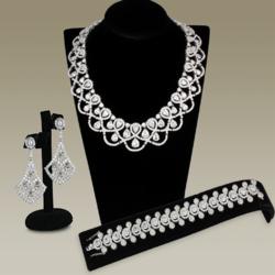 3W931 - Brass Jewelry Sets Rhodium Women AAA Grade CZ Clear