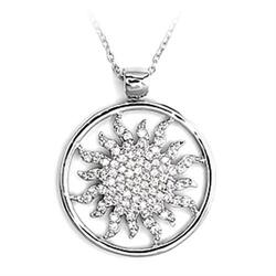 6X324 - 925 Sterling Silver Chain Pendant High-Polished Women AAA Grade CZ Clear