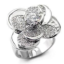 7X184 - 925 Sterling Silver Ring Rhodium Women AAA Grade CZ Clear