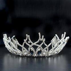 LO2106 - Brass Tiaras & Hair Clip Imitation Rhodium Women Top Grade Crystal Montana