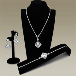 LO2341 - Brass Jewelry Sets Rhodium Women AAA Grade CZ Clear