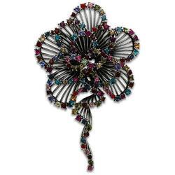 LO2395 - White Metal Brooches Imitation Rhodium Women Top Grade Crystal Multi Color