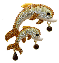 LO2413 - White Metal Brooches Gold Women Top Grade Crystal Multi Color