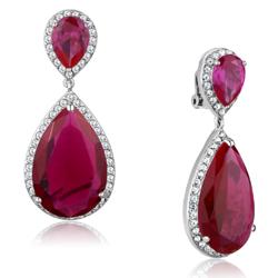 LO3296 - Brass Earrings Rhodium Women AAA Grade CZ Ruby