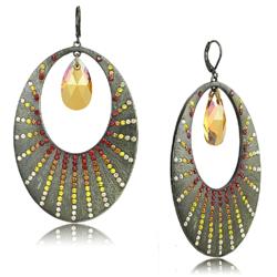 LO4177 - Brass Earrings Antique Copper Women Top Grade Crystal Champagne