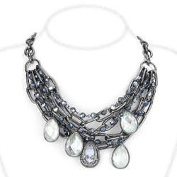 LO4211 - Brass Necklace TIN Cobalt Black Women AAA Grade CZ Clear
