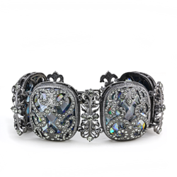 LO4225 - Brass Bracelet TIN Cobalt Black Women AAA Grade CZ Clear