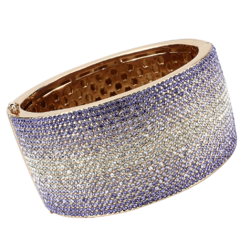 LO4279 - Brass Bangle Rose Gold+e-coating Women Top Grade Crystal Multi Color