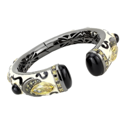 LO4298 - Brass Bangle Gold+Hematite Women Synthetic Jet