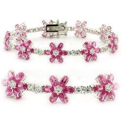 LOAS956 - 925 Sterling Silver Bracelet High-Polished Women AAA Grade CZ Rose