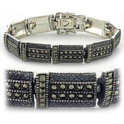 LOAS965 - 925 Sterling Silver Bracelet Antique Tone Women Semi-Precious Jet