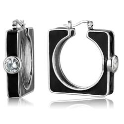 LOS754 - 925 Sterling Silver Earrings Rhodium Women AAA Grade CZ Clear