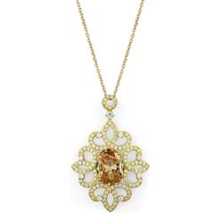 LOS784 - 925 Sterling Silver Chain Pendant Gold Women AAA Grade CZ Champagne