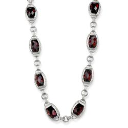 LOS877 - 925 Sterling Silver Necklace Rhodium Women AAA Grade CZ Garnet