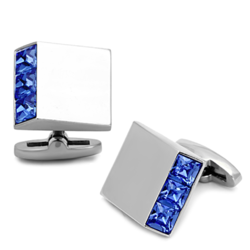 TK1251 - Stainless Steel Cufflink High polished (no plating) Men Top Grade Crystal Sapphire