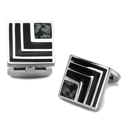 TK1269 - Stainless Steel Cufflink High polished (no plating) Men Synthetic Jet