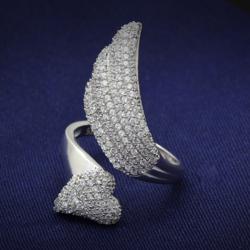 TS014 - 925 Sterling Silver Ring Rhodium Women AAA Grade CZ Clear