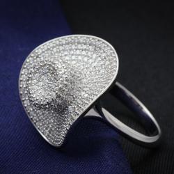 TS015 - 925 Sterling Silver Ring Rhodium Women AAA Grade CZ Clear