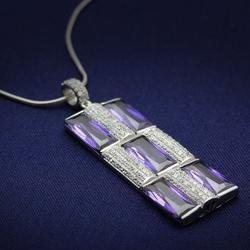TS026 - 925 Sterling Silver Chain Pendant Rhodium Women AAA Grade CZ Amethyst
