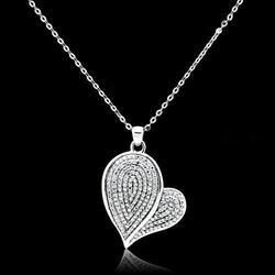 TS048 - 925 Sterling Silver Chain Pendant Rhodium Women AAA Grade CZ Clear