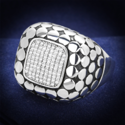 TS215 - 925 Sterling Silver Ring Rhodium Men AAA Grade CZ Clear