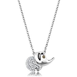 TS450 - 925 Sterling Silver Chain Pendant Rhodium Women AAA Grade CZ Topaz
