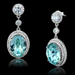 TS508 - 925 Sterling Silver Earrings Rhodium Women Top Grade Crystal Sea Blue