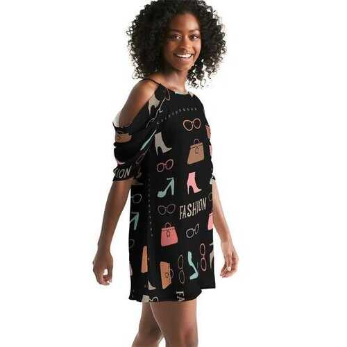Fashion Me Fabulous Womens Open Shoulder A-Line Dress