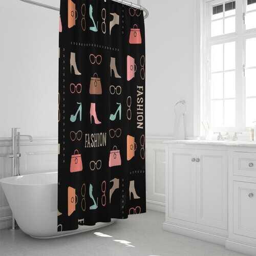 "Fashion Me Fabulous Style Fabric Shower Curtain 72""x72"""