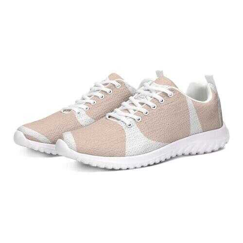 Peach And White Womens Athletic Sneakers