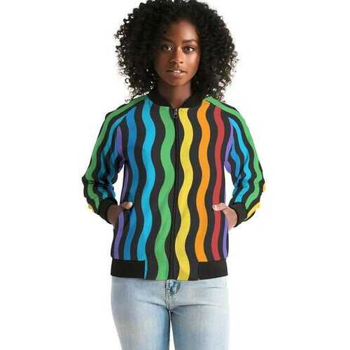 Rainbow Stripe Style, Womens Bomber Jacket