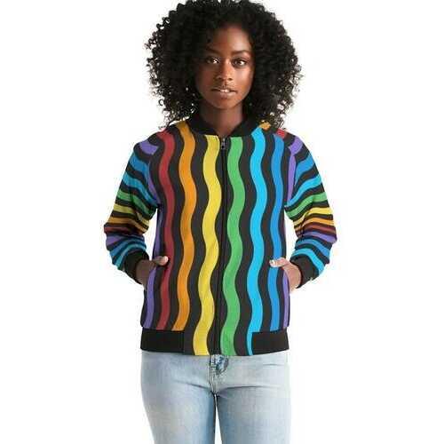 Rainbow Stripe Style, Classic Womens Bomber Jacket