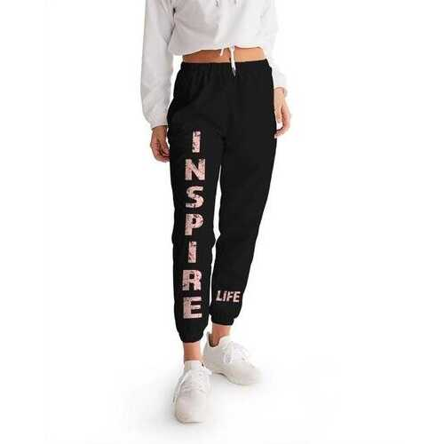 Inspire Peach Graphic Text Womens Black Track Pants